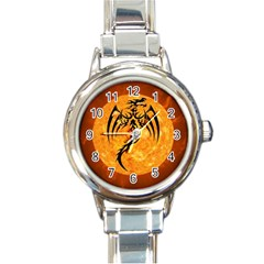 Dragon Fire Monster Creature Round Italian Charm Watch