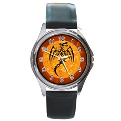 Dragon Fire Monster Creature Round Metal Watch