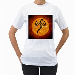 Dragon Fire Monster Creature Women s T-Shirt (White) (Two Sided)