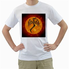 Dragon Fire Monster Creature Men s T-Shirt (White) (Two Sided)