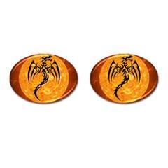 Dragon Fire Monster Creature Cufflinks (Oval)
