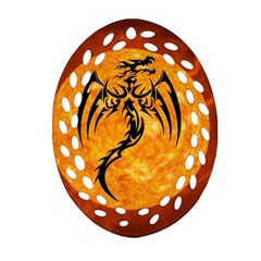 Dragon Fire Monster Creature Oval Filigree Ornament (Two Sides)