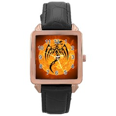 Dragon Fire Monster Creature Rose Gold Leather Watch