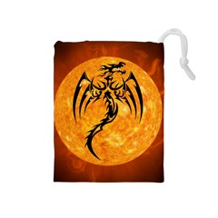 Dragon Fire Monster Creature Drawstring Pouches (Medium)