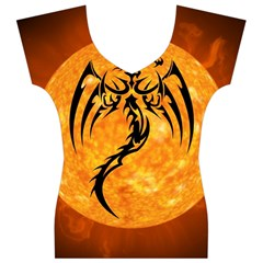 Dragon Fire Monster Creature Women s V-Neck Cap Sleeve Top