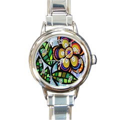 Folk Art Flower Round Italian Charm Watch