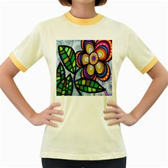 Folk Art Flower Women s Fitted Ringer T-Shirts