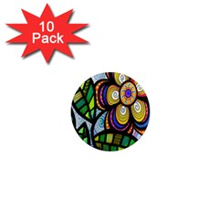 Folk Art Flower 1  Mini Magnet (10 pack)