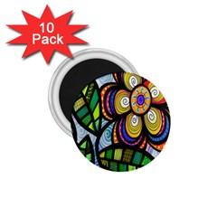 Folk Art Flower 1.75  Magnets (10 pack)