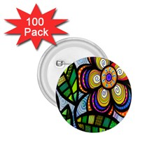 Folk Art Flower 1.75  Buttons (100 pack)