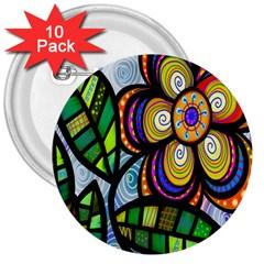 Folk Art Flower 3  Buttons (10 pack)