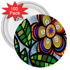 Folk Art Flower 3  Buttons (100 pack)