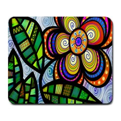 Folk Art Flower Large Mousepads