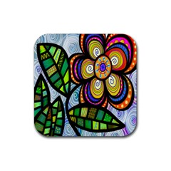 Folk Art Flower Rubber Square Coaster (4 pack)
