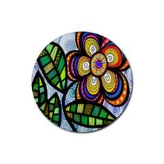 Folk Art Flower Rubber Coaster (round)