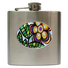 Folk Art Flower Hip Flask (6 oz)