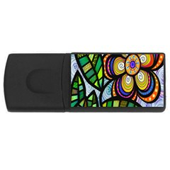 Folk Art Flower USB Flash Drive Rectangular (2 GB)