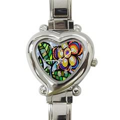 Folk Art Flower Heart Italian Charm Watch