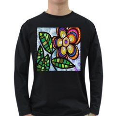 Folk Art Flower Long Sleeve Dark T-Shirts