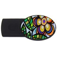 Folk Art Flower USB Flash Drive Oval (4 GB)