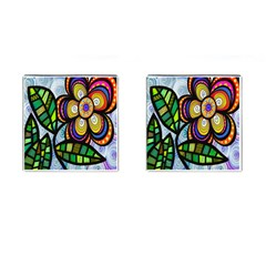 Folk Art Flower Cufflinks (Square)