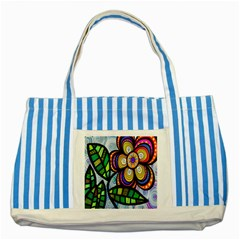 Folk Art Flower Striped Blue Tote Bag