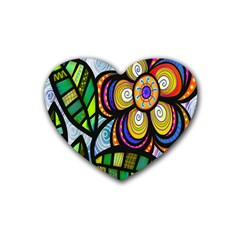 Folk Art Flower Rubber Coaster (Heart)