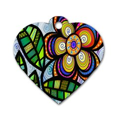 Folk Art Flower Dog Tag Heart (Two Sides)