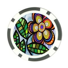 Folk Art Flower Poker Chip Card Guard (10 pack)