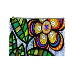 Folk Art Flower Cosmetic Bag (Large)