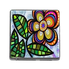 Folk Art Flower Memory Card Reader (square)
