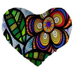Folk Art Flower Large 19  Premium Heart Shape Cushions