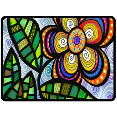 Folk Art Flower Double Sided Fleece Blanket (Large)