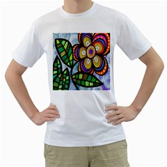 Folk Art Flower Men s T Shirt (white)