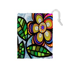 Folk Art Flower Drawstring Pouches (Medium)