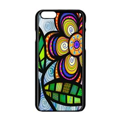 Folk Art Flower Apple iPhone 6/6S Black Enamel Case