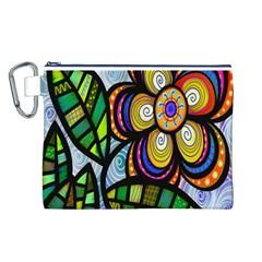 Folk Art Flower Canvas Cosmetic Bag (L)