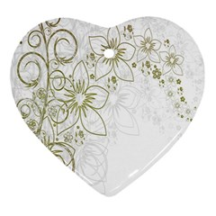 Flowers Background Leaf Leaves Ornament (Heart)