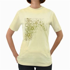 Flowers Background Leaf Leaves Women s Yellow T-Shirt