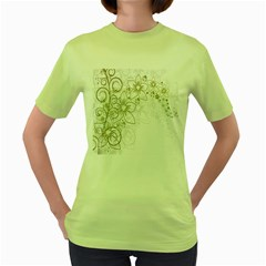 Flowers Background Leaf Leaves Women s Green T-Shirt