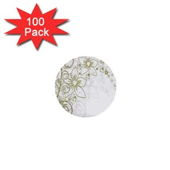 Flowers Background Leaf Leaves 1  Mini Buttons (100 pack)