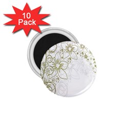 Flowers Background Leaf Leaves 1.75  Magnets (10 pack)
