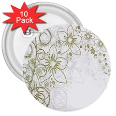 Flowers Background Leaf Leaves 3  Buttons (10 pack)