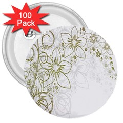 Flowers Background Leaf Leaves 3  Buttons (100 pack)
