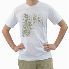 Flowers Background Leaf Leaves Men s T-Shirt (White) (Two Sided)