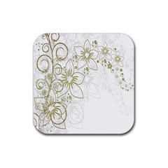 Flowers Background Leaf Leaves Rubber Square Coaster (4 pack)