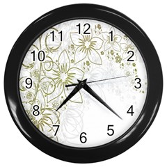 Flowers Background Leaf Leaves Wall Clocks (Black)