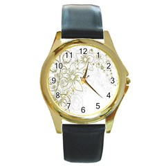 Flowers Background Leaf Leaves Round Gold Metal Watch