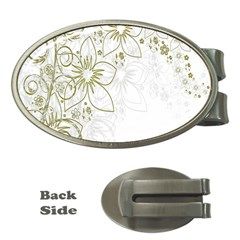 Flowers Background Leaf Leaves Money Clips (Oval)