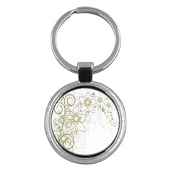 Flowers Background Leaf Leaves Key Chains (Round)